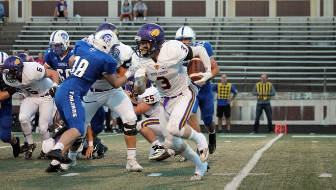 Carter McGinnis ran for 195 yards in Guerin Catholic's win over Bishop Chatard Friday night.