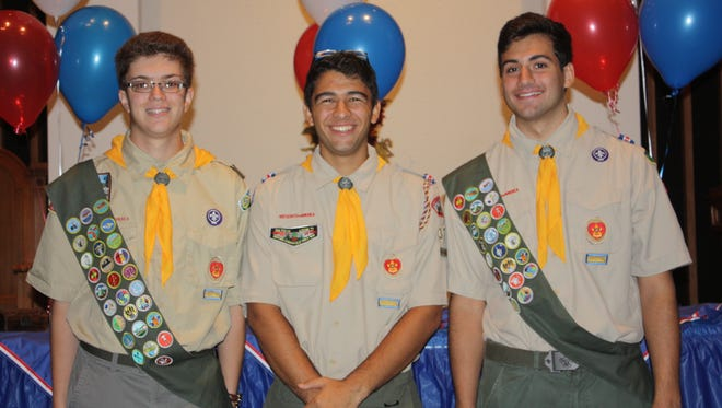 Middletown Boy Scout Troop 32 honors its Newest Eagle Scouts. From left: Zachary Johnson, Christian DeSanctis, and Jeremy Karew, all from Middletown.