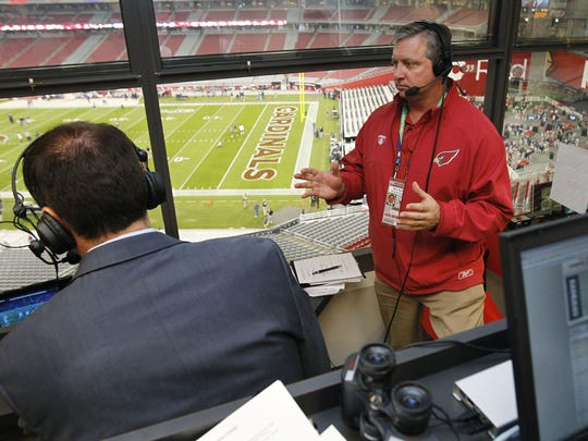 Cardinals broadcasters Ron Wolfley (right) Dave Pasch