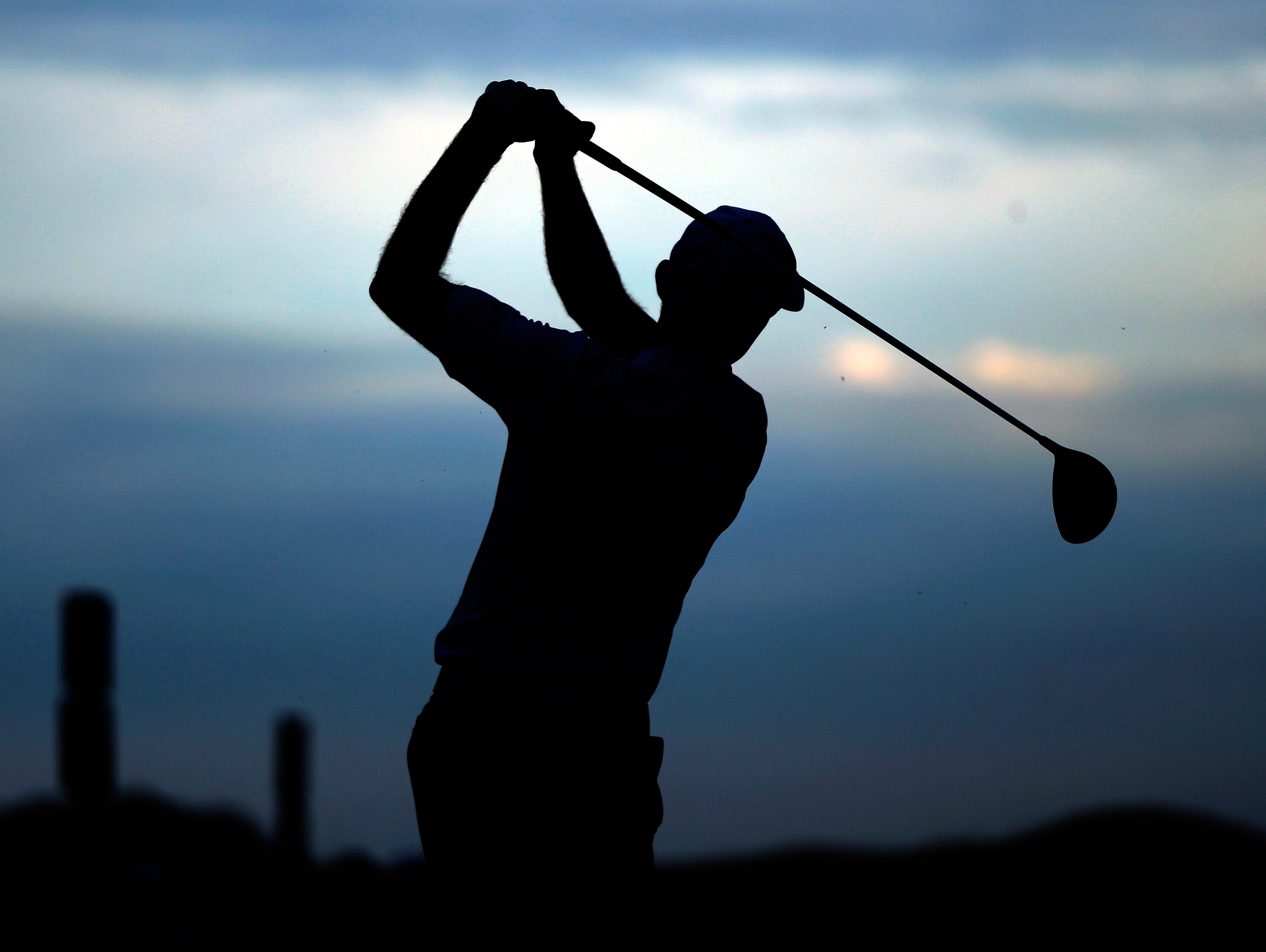 Brian Gaffney hits a drive on the 11th hole during the first round of the PGA Championship golf tournament Thursday, Aug. 13, 2015, at Whistling Straits in Haven, Wis. (AP Photo/Julio Cortez)