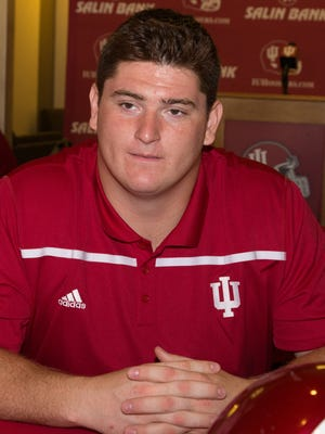 Dan Feeney answers questions during the IU Football Media Day at  Memorial Stadium in Bloomington, August 8, 2015.