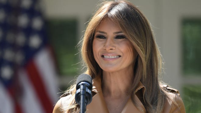 First lady Melania Trump speaks on her initiatives in the Rose Garden of the White House in Washington, May 7, 2018.