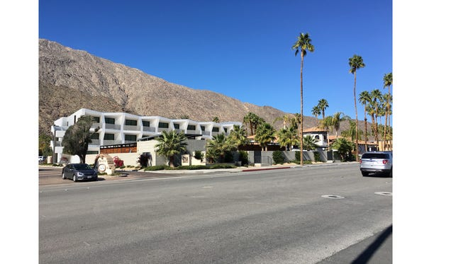 A rendering of the proposed 66-room hotel addition proposed for the Hacienda Cantina & Beach Club in Palm Springs.