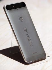 The new Nexus 6P phone is displayed during a Google