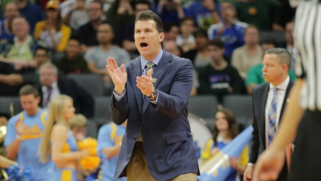 UCLA Bruins coach Steve Alford reacts against the Kent State Golden Flashes in the first round of the 2017 NCAA Tournament at Golden 1 Center.