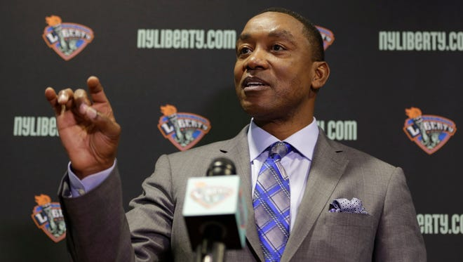 New York Liberty president Isiah Thomas speaks during a news conference in Tarrytown, N.Y., Thursday, May 21, 2015. Madison Square Garden chairman James Dolan has rehired Thomas - this time to run the WNBA's New York Liberty.