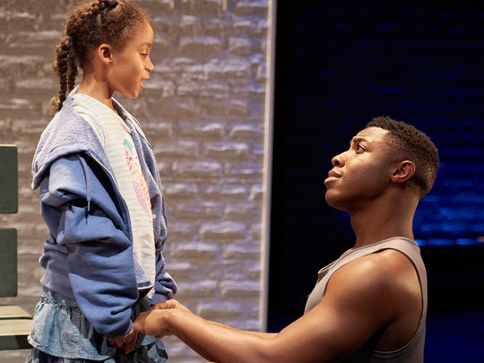 "Ari Elizabeth Johnson (L) and Kameron Richardson star in the Ensemble Theatre Cincinnati's production of Kimber Lee's ""Brownsville Song (b-side for tray),"" running through Oct. 30."