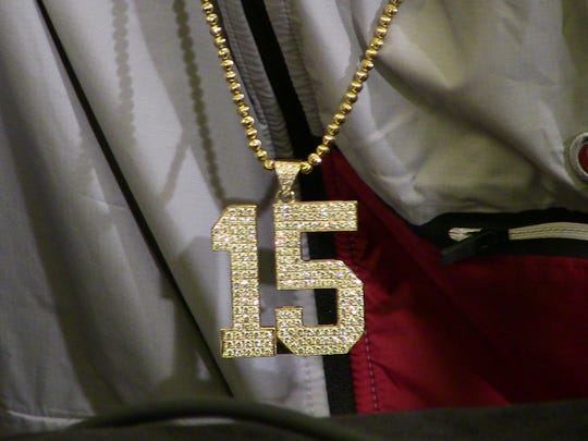 Ronnie Harrison sported a studded No. 15 chain to match his jersey number during Friday's media availability.