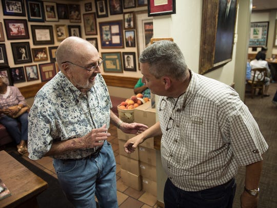 June 26, 2018 - Charles Cavallo (right) talks with Joe Ballard during lunch at The Cupboard. The restaurant has been in business more than seven decades.