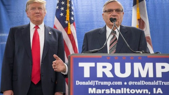 Joe Arpaio and Donald Trump, at a 2016 campaign event.