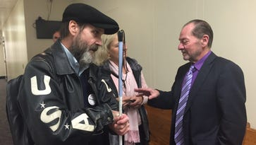 Joe Harcz (left) and his attorney Brian Kamar, during an earlier hearing at Lansing district court.