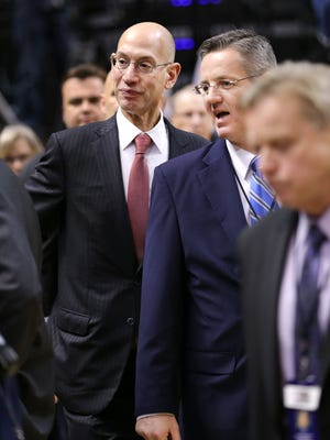 NBA Commissioner Adam Silver makes his way to his seats before the start of the game between the Pacers and Raptors at Bankers Life Fieldhouse on Monday, March 16, 2015. The Pacers lost 117-98 to the Raptors.
