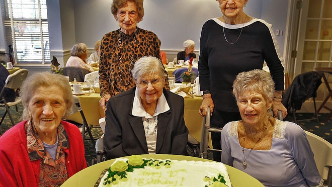 Members of the Weymouth Newcomers Club gather for a group birthday of five of the six 90-year-old members at the Allerton House, Weymouth on Sunday November 5, 2017. Shirley Bartlett, then 90 is on the bottom right.  File Photo