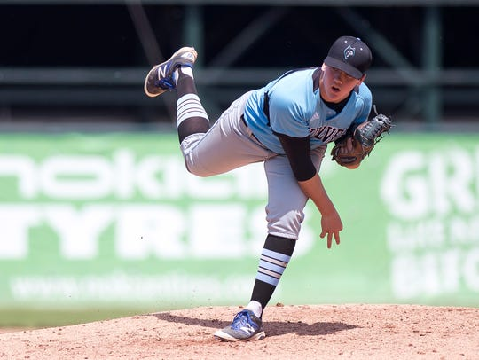 South Burlington pitcher Jack Ambrosino watches a pitch against Colchester during the Division I state championship game last year at Centennial Field.