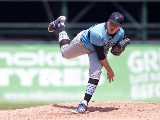 South Burlington pitcher Jack Ambrosino watches a pitch against Colchester during the 2018 Division I state championship game at Centennial Field.