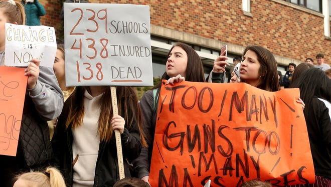 Students at Central Kitsap High School held a walkout to protest gun violence and call for action on school shootings on Wednesday, Feb. 21, 2018.
