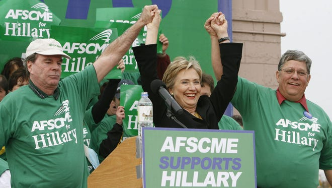 Presidential Candidate Hillary Clinton accepted the endorsement by AFSCME Council in Des Moines on Nov. 3, 2007.