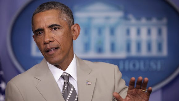 President Barack Obama makes a statement at the James Brady Press Briefing Room of the White House August 28, 2014 in Washington, DC.
