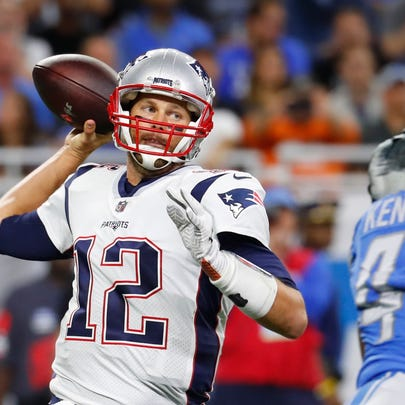 New England Patriots quarterback Tom Brady throws during the first half of an NFL football game against the Detroit Lions, Sunday, Sept. 23, 2018, in Detroit. (AP Photo/Paul Sancya)