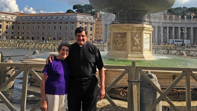 Angeline Roscioli and her son, Father Domenic Roscioli, pose for a photo at the Vatican.