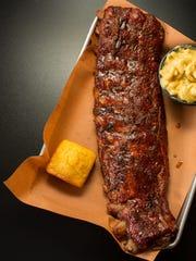 Good Smoke BBQ ribs in their apple-wood-smoked glory.