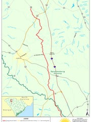 The route of a proposed natural gas pipeline runs through