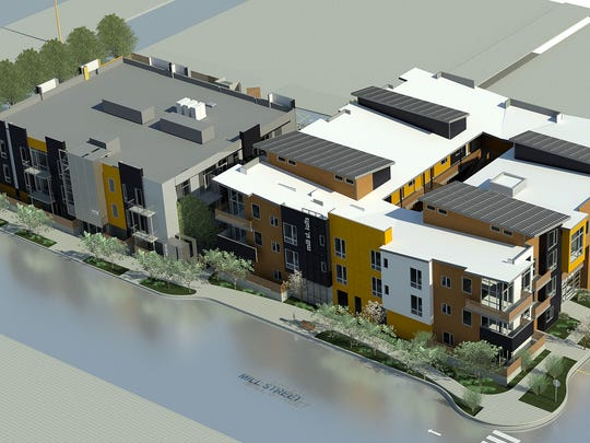 Renderings of the future conversion of 560 Mill Street into 50 condo units.