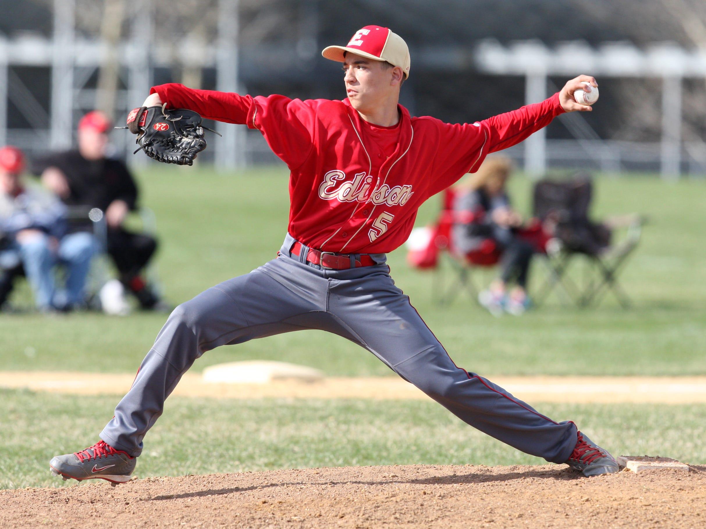 South Brunswick takes on Edison in a boys varsity baseball game at South Brunswick High School Thursday April 16,2015 Edison's # 5 pitcher Brandon Radd on the mound.