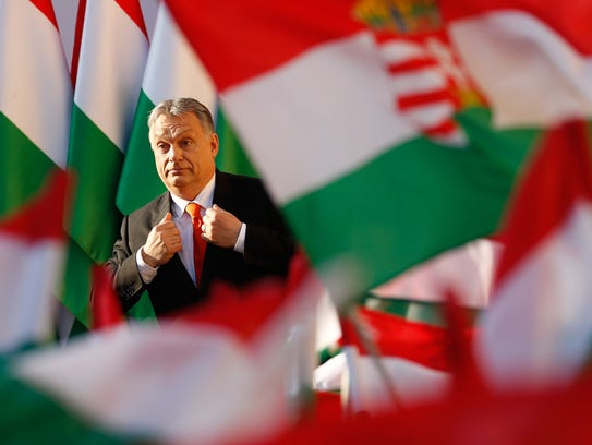 Hungarian Prime Minister Viktor Orban attends his Fidesz