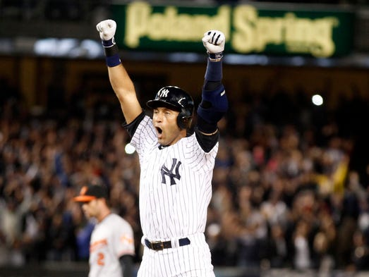 Sept. 25, 2014: Jeter celebrates his walk-off single