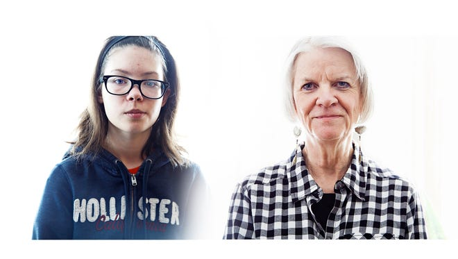 Alexis Myers, a 15-year-old from Manson, is slowly losing her hearing and vision. Her grandmother, Sherri Myers, right, has the same disease but no one knew until recently.