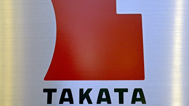 Corporate logo for Takata, a Japanese airbag supplier that has been forced to recall millions of air bags for potentially defective inflators.