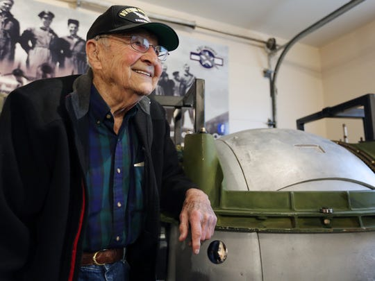World War II veteran Jerry Duran, who served as a ball turret gunner, attends a meeting of the Veterans Coffee Club on Thursday, Feb. 18, 2016, at the B-17 Alliance Restoration & Museum in Salem. The group celebrated his 92nd birthday.