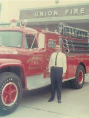 Vince Stevens is seen at the fire department in 1967.