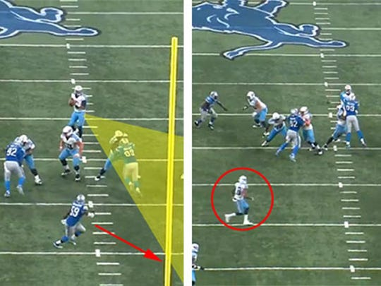 Lions linebacker Tahir Whitehead gets moved off his spot trying to read the quarterback's eyes.