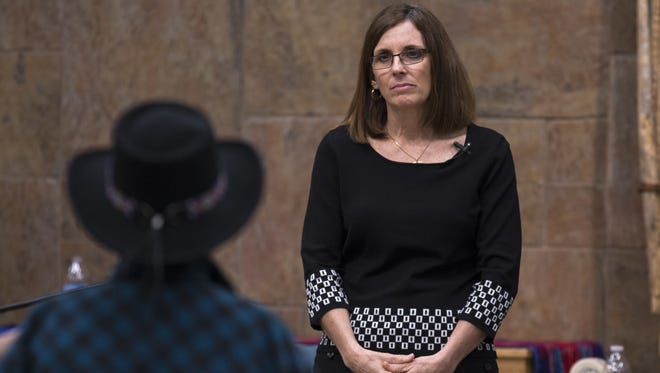 U.S. Rep. Martha McSally listens to a question during a town-hall meeting at the Good Shepherd United Church of Christ in Sahuarita on Feb. 23, 2017.