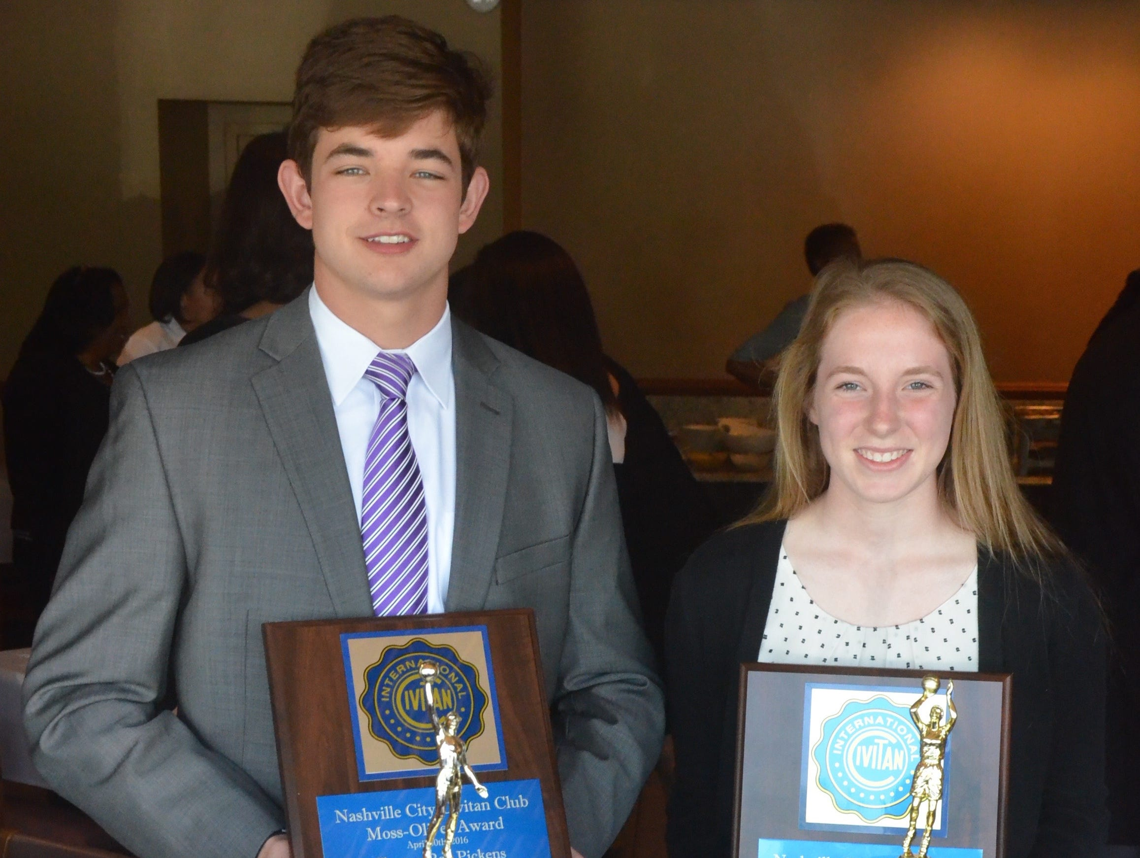 Lipscomb Academy's Clayton Pickens (left) and Ezell-Harding's Shannon Beaty each received Moss/Oliver awards on Wednesday.