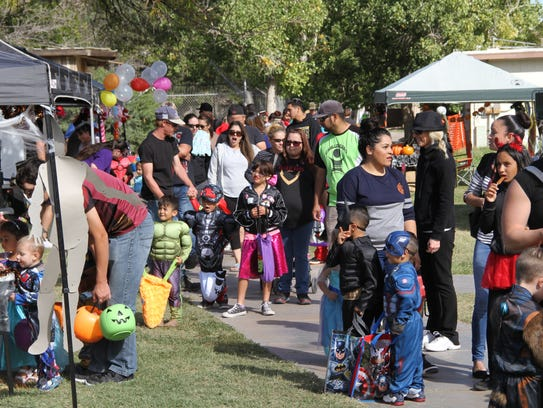 The lines were long for trick-or-treating at Alamogordo's