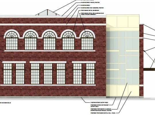 The side elevations of an Elmira Savings Bank branch proposed for 602 West State Street, featuring a small addition on the building's north face.