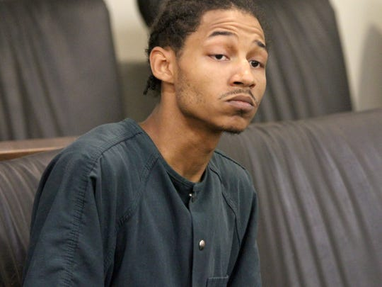 Demar S. Reevey, 23, of Red Bank, charged in connection with the stabbing death of Red Bank firefighter Andrew Hill, 26, is shown during his first appearance before Judge David Bauman in Freehold Tuesday, May 29, 2018.