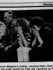 The family of Donna Meagher reacts during the trial