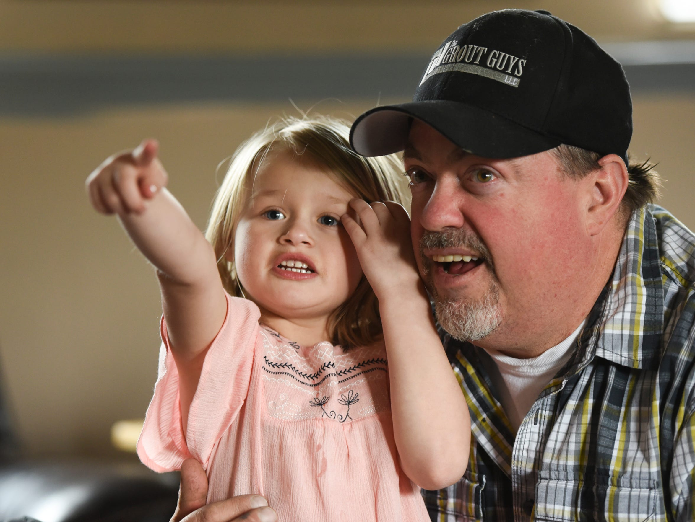 Five-year-old Addisyn Lantto talks to her uncle, Brendan