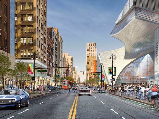 Rendering provided by Rock Ventures shows Dan Gilbert's plans for the Hudson's site on the right.(Photo: Rock Ventures)
