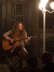 """Melody Bird plays """"Part of Your World"""" from """"The Little Mermaid"""" during the Transgender Day of Remembrance at A Place of Peace in Ventura."""
