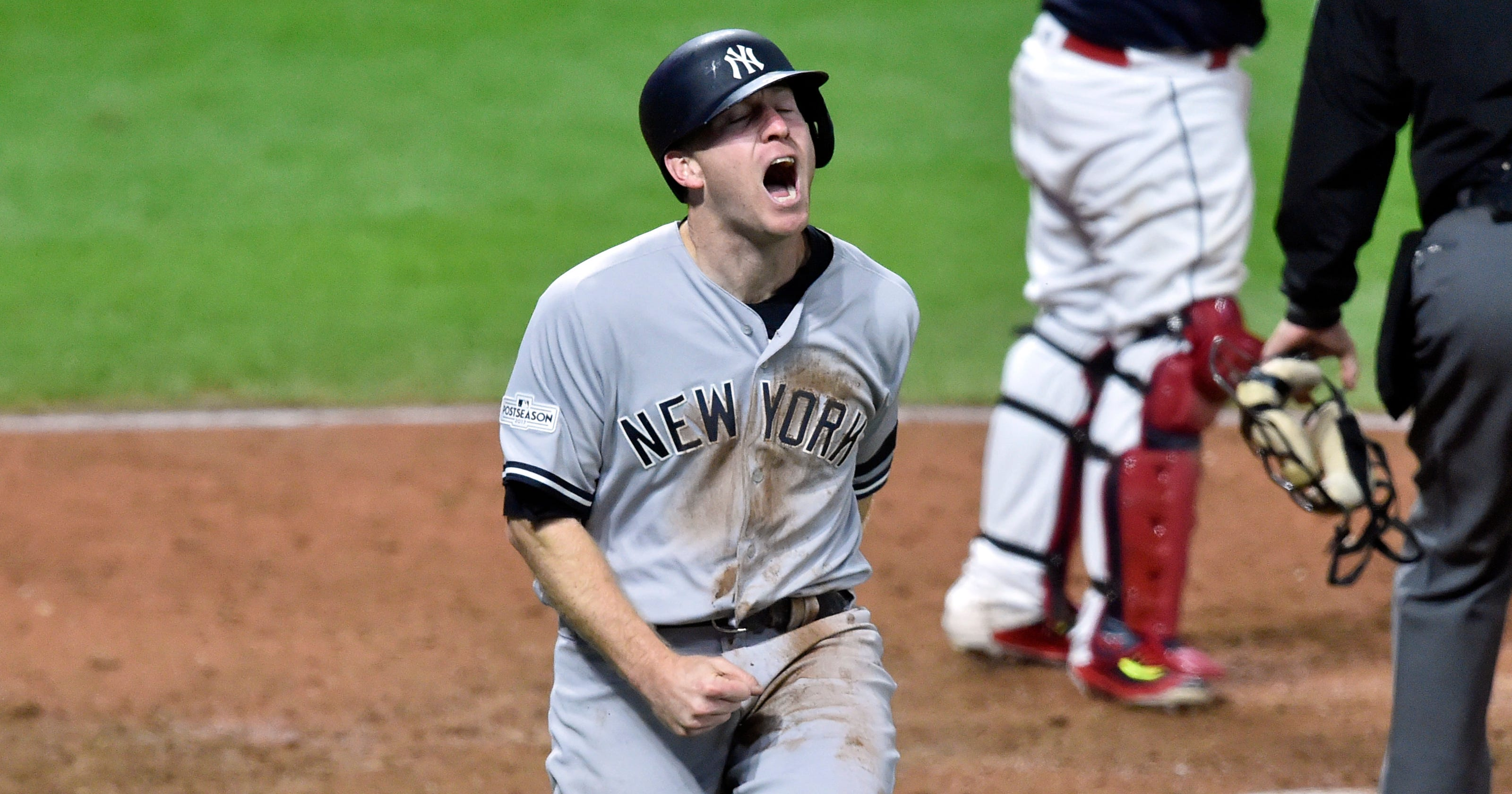 6984b93a9 Todd Frazier celebrates New York Yankees' ALDS win vs. Cleveland Indians