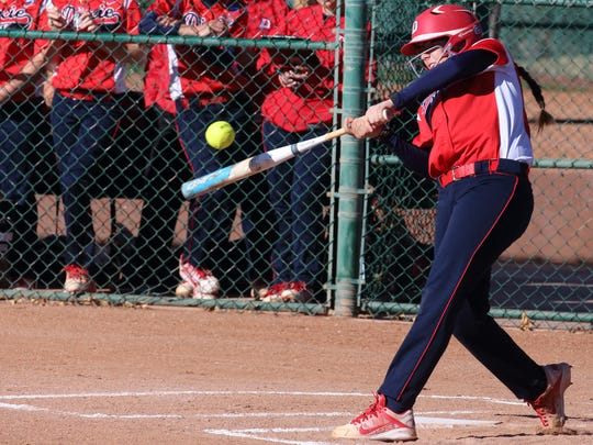 Dixie State's Jessica Gonzalez hits one of three home