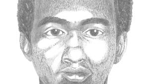 The man in the sketch was described by police as a Black man in his 20s, approximately 5-feet, 10-inches tall with a muscular build. He was wearing a red shirt with a white logo during the burglary.