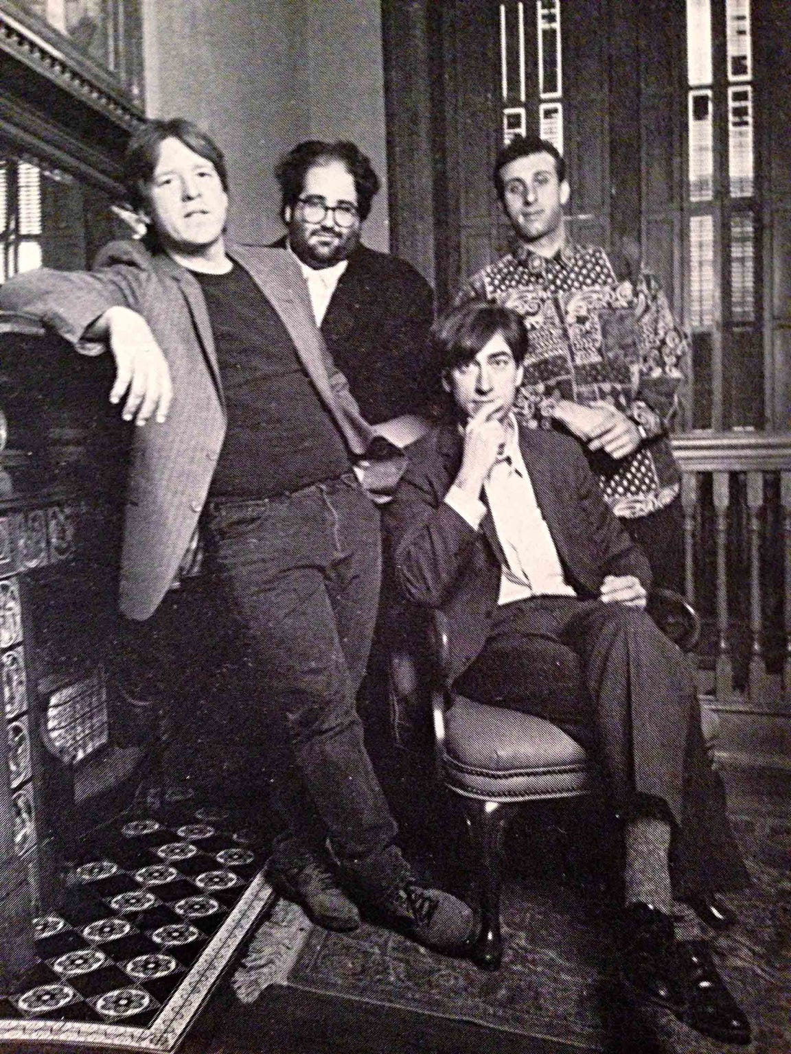 The New Dylans posing for a photo shoot in the Library Theater in Warren, PA, in 1993.