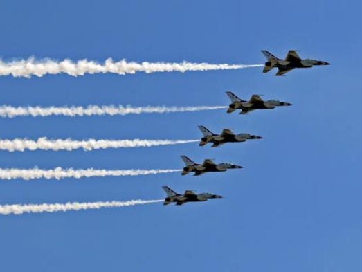 The USAF Thunderbirds on Sunday at the Melbourne Air & Space Show.