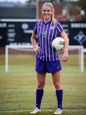 Furman senior girls soccer player Stephanie DeVita poses for a portrait on the field at Stone Stadium on Oct. 29, 2015.